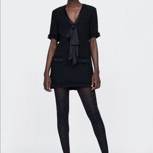 NEW Zara Tweed Bow Ribbon Dress S